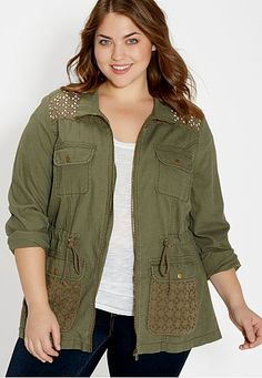 plus size anorak jacket with openwork (original price, $54) available at #Maurices