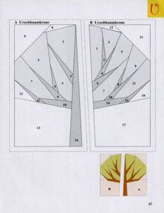 Paper piecing for trees (spring bulletin boards)