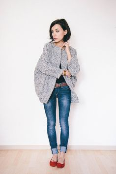 Gray oversized cardigan sweater