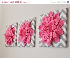 "NEW YEARS SALE Pink Wall Art -Set Of Three Pink Dahlias on Gray and White Chevron 12 x12"" Canvas Wall Art- Home Decor"