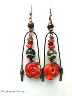 Gemstone, copper wire, lampwork Glass earrings, Modern, Rustic, Tribal.