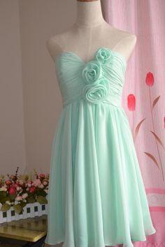 Sweetheart Knee Length Bridesmaid Dresses,Chiffon Bridesmaid Dresses,Mint Bridesmaid Dresses,Party Dresses