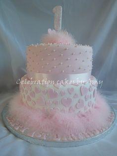 "Little girls 1st birthday cake - 2 tiered sponge cake. Made using a 10"" & an 8"" cake tin."
