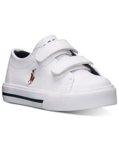 Polo Ralph Lauren Toddler Boys' Scholar Ez Casual Sneakers from Finish Line - WHITE/MULTI PONY 10