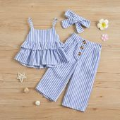 Solid / Striped Ruffled Camisole Top and Pants, Headband for Baby / Toddler Girl - Blue Trendy Toddler Girl Clothes, Toddler Fall Outfits Girl, Toddler Girl Dresses, Kids Outfits, Toddler Girls, Gym Outfits, Clothes For Kids, Baby Dress Design, Baby Girl Dress Patterns