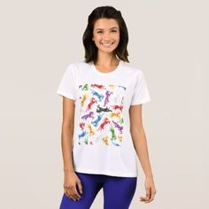 #horse #riding - #Colored Pattern jumping Horses T-Shirt