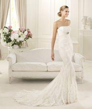 Gorgeous Lace Bodice New Arrival Mermaid/Trumpet Cinta Modeladora Wedding Gown Strapless Crystal Sash Robe Mariage AM-30 Dress(China (Mainland))
