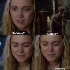 """#The100 2x11 """"Coup de Grace"""" - Clarke and Bellamy just the sound of there voice just comforts her"""