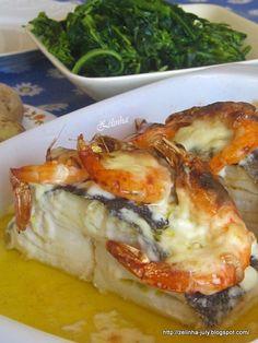 ZELINHA: BACALHAU NO FORNO COM BÉCHAMEL E CAMARÃO Cod Recipes, Fish Recipes, Healthy Recipes, Bacalhau Recipes, Chefs, Seafood Soup, Cod Fish, Easy Meals For Kids, Fish Dinner