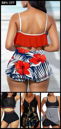 High Waist Ruffle Overlay Spaghetti Strap Swimwear Top and Printed Pantskirt Plus Size Fashion For Women Summer, Plus Size Fashion Tips, Over 50 Womens Fashion, Hawaii Outfits, Summer Outfits, Hawaii Clothes, Curvy Girl Outfits, Curvy Girl Fashion, Outfit Goals