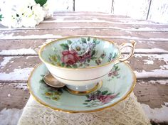 Vintage Tea Cup Saucer Set ParagonTurquoise  from AllieEtCie