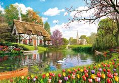 A beautiful piece of artwork to while away the hours completing this jigsaw puzzle with themed whimsy pieces. #NaturePuzzle #Cottage #Lakeside