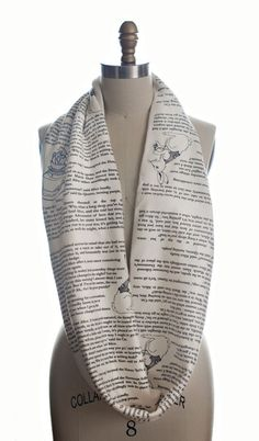 Wrap up with a good Book Scarf! Let everyone know about your great taste in books by wrapping a page from Alice in Wonderland around your neck! This infinity scarf will keep you looking & feeling both