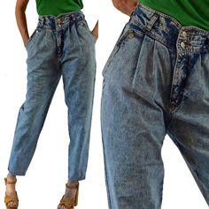 vintage high waisted jeans / Acid Wash Jeans / Pleated High Waist JORDACHE denim vintage blue jeans / Harem Fit Jeans M / 8 Jeans Fit, High Waist Jeans, Mom Jeans, High Jeans, 80s Fashion, Look Fashion, Vintage Fashion, Costume Année 80, Jordache Jeans