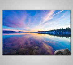 Sunset Reflections  Lake Tahoe CA  Canvas Print by ChrisStraface