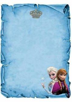 Molde de convite frozen                                                                                                                                                                                 Más Disney Frozen Party, Frozen Tea Party, Elsa Frozen, Frozen Birthday Invitations, Frozen Birthday Theme, Frozen Theme, Birthday Parties, Frozen Background, Christmas Scrapbook Paper