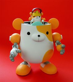mega house panda-z figure: hamugear (yellow version, by j_pidgeon 3d Figures, Vinyl Figures, Vinyl Toys, Vinyl Art, 3d Character, Character Design, Character Concept, Crazy Toys, Japanese Toys