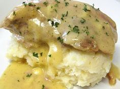 Ranch House Crock Pot Pork Chops with Parmesan Mashed Potatoes Recipe | Just A Pinch Recipes