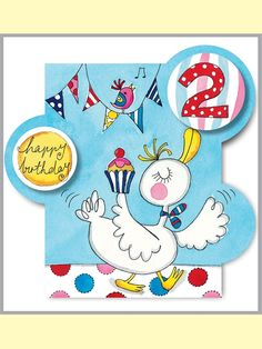 Rachel Ellen card - happy birthday - age 2 duck