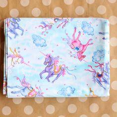 Vintage Unicorn Fabric Novelty Print Tampella 1980s Panels