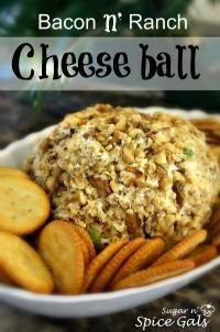 Spice Gals: Bacon Ranch Cheese Ball Brought this Cheese ball to work the other day and it was a huge hit. There was not a bite left by the end of the shift.sugar-n-spice. Bacon Ranch Cheese Ball Recipe, Cheese Ball Recipes, Snack Recipes, Cooking Recipes, Great Appetizers, Appetizer Dips, Sugar And Spice, Food Hacks, Finger Foods