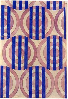 Textile design, Gouache on cardboard, Private Collection, Moscow