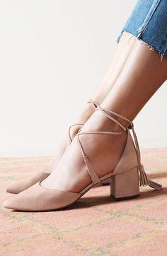 Halogen® Iris Lace-Up d'Orsay Pump (Women) Pretty Shoes, Beautiful Shoes, Cute Shoes, Me Too Shoes, Mode Ulzzang, Shoes Sandals, Shoe Boots, Sandal Heels, Nude Heels