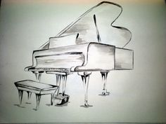 Grand Piano Sketch | at a grand piano. I do play the piano, so this water-color sketch ...