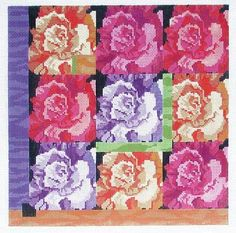 """Rose Squares  by Ruth Schmuff Designs -     1053 - 18ct  1054 - 13ct    Rose Squares Handpainted Canvas by Ruth SchmuffBeautiful Roses in jewel tones take a contemporary twist. 9"""" X 9"""" on 18ct or 12.5 x 12.5 on 13ct."""
