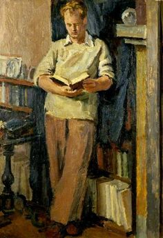 """Quentin Bell Reading by Vanessa Bell c. ( Son of Vanessa Bell and Clive Bell, nephew of Virginia Woolf. Vanessa Bell, Virginia Woolf, Reading Art, Girl Reading, People Reading, Duncan Grant, Bloomsbury Group, Illustration, Art Uk"