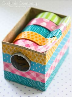 Washi Tape Ideas {round-up} We Read!: Washi Tape Ideas {round-up} Craft Organization, Craft Storage, Storage Ideas, Office Organisation, Paper Storage, Organizing Ideas, Diy Washi Tape Dispenser, Diy Washi Tape Organizer, Diy Washi Tape Storage