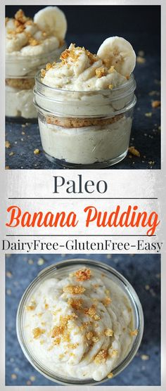 Banana Pudding Paleo Banana Pudding- 6 ingredients and less than 20 minutes cook time. Dairy free, refined sugar free and so delicious!Paleo Banana Pudding- 6 ingredients and less than 20 minutes cook time. Dairy free, refined sugar free and so delicious! Dessert Sans Gluten, Low Carb Dessert, Dairy Free Recipes, Whole Food Recipes, Gluten Free, Banana Recipes Paleo, Healthy Banana Pudding, Diet Recipes, Pudding Recipes