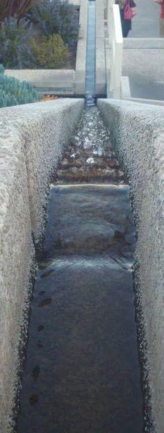 Water fall along the steps of Artesa Winery in Napa, CA.