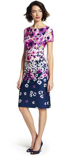 Painted Floral Cutout Back Dress - Adrianna Papell