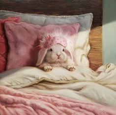 """""""Bed Hare"""" by Lucia Heffernan Cute Baby Bunnies, Funny Bunnies, Cute Baby Animals, Animals And Pets, Cute Babies, Rabbit Art, Bunny Art, Wow Art, Tier Fotos"""