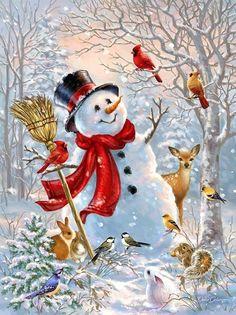 Christmas Scenes, Christmas Art, Christmas Ornaments, Frosty The Snowmen, Snowman, Forest Friends, Diamond Art, Nouvel An, Christmas Paintings