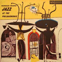 Jazz at the Philharmonic, Vol 9. Label: Verve MGC Vol9 (1957). Cover by David Stone Martin.