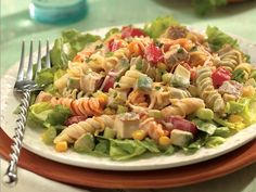 Southwestern Chicken Pasta Salad.  Now this reciepe calls for 1 9oz pkg of cooked chicken. But you can use leftover BBQ, or just season up some thighs throw em in the oven for 45-60 minutes.