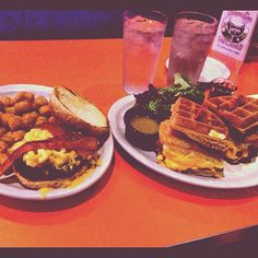 A waffles sandwich and a burger with mac 'n cheese on it...yeah Big Daddy's is awesome!