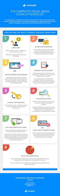 The Complete Social Media Clean Up Checklist - 9 ways to refresh your social media pages. #infographic #socialmedia
