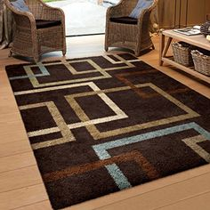 Orian Rugs Geometric Linked In Mocha Blue Area Rug 5 3 X