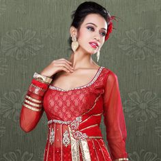 #Red Flare Net #Lehenga Choli with Dupatta