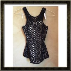 Black Lace Peplum Tank NWT NWT Peplum styled lacy tank. Fully lined insert. Racer back. Poly spandex blend. Very sexy and stylish top. SIZE SMALL Monaco USA Tops Tank Tops