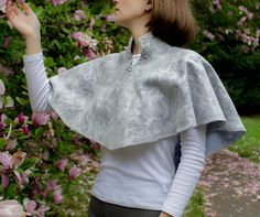 Felt Cape Wool clothing beaded gray blue Art wool Wear