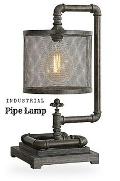 Uttermost Bristow Table Lamp in Bronze Take industrial style to the limit with the Bristow Table Lamp from Uttermost. This completely unique lamp features a base designed to look like a serious of pipes, paired with an antique bulb and iron mesh shade for a unique addition to your space. #industrial #ad #lamp #pipe #pipelamp #lighting #rustic #rusticindustrial #rusticdecor #industrialdecor #rusticstyle #style #shopping #shoppingonline #homedecor #industrialstyle