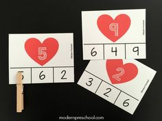 FREE printable Heart Number Match Clip Cards for toddlers, preschoolers, and kindergarteners to practice number recognition, hand-eye coordination, and fine motor skills to use during Valentine's Day! Numbers Preschool, Free Preschool, Learning Numbers, Math Activities, Preschool Activities, Preschool Printables, Preschool Kindergarten, Math Games, Free Printables