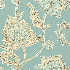 Thibaut Cypress - Orissa - Wallpaper - Aqua ... A close up of the paper.  Love, love the movement in the pattern combined with the cool and calming aqua color.  The deepest color is a chocolate brown that will tie together perfectly with the deep brown furniture in the room.
