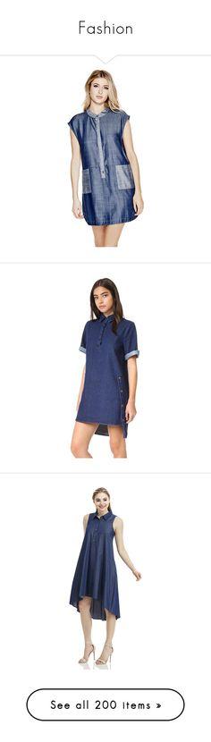 """Fashion"" by ney-george ❤ liked on Polyvore featuring dresses, pocket dress, shirt dresses, sleeveless chambray dress, shiny dress, wet look dress, dark denim, collared dresses, elbow sleeve dress and asymmetrical hem dress"