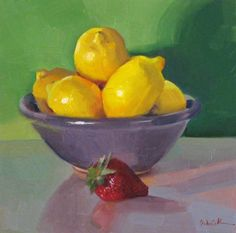 Purple Bowl of Lemons daily painting still life fruit kitchen art yellow green, painting by artist Sarah Sedwick