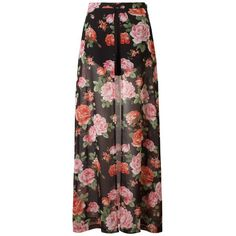 Love Split Front Maxi Skirt With Shorts ($17) ❤ liked on Polyvore featuring skirts, bottoms, saias, maxi skirts, faldas, long floral skirts, lipsy, floral print maxi skirt, boho maxi skirt and bohemian style skirts